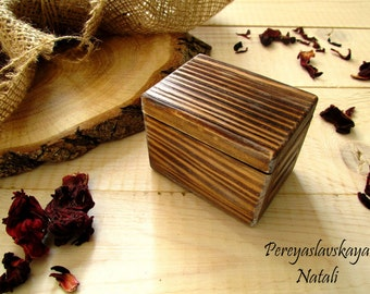 Wooden box for ring in rustic style, wooden box for wedding rings, proposal box, anniversary gift, engagement ring.