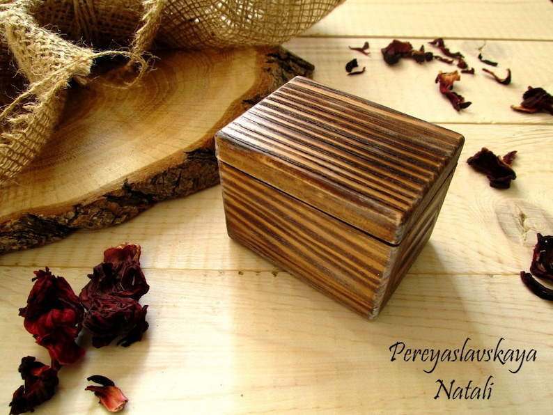 Wooden box for ring in rustic style wooden box for wedding image 1