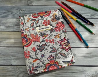 Notebook for sketches, sketchbooks, Notebook handmade fabric cover, textile book cover, drawing pad