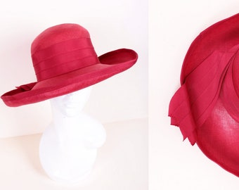 Vintage 1970 s Red Straw Deep Wide Brim Wedding Ascot Formal Summer Sun  Garden Party Hat Size Medium 5a480a7661d5