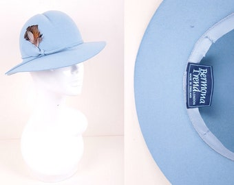 Vintage 1970's does 1930's Baby Blue Felt Trilby Fedora Hat with Feather Trim made by Bermona Trend London
