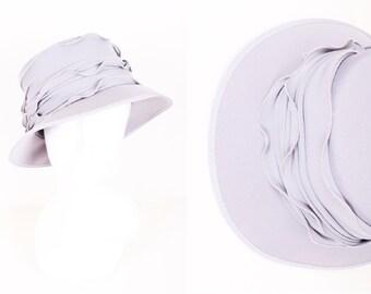7b201d1af8c02 Vintage Pale Light Grey Silver Cocktail Wedding Bucket Lampshade Cloche Hat  Size Medium
