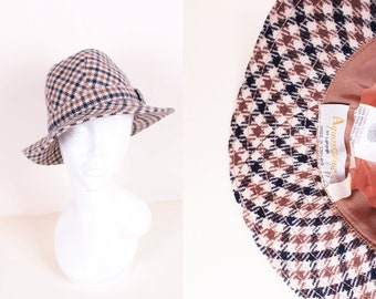 6c9a52e5b57cd Vintage Aquascutum of London Navy Beige Brown Plaid Check Trilby Hat Size  Small