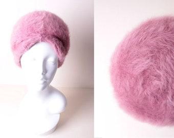 3fdefcf7396 Vintage Pink Fluffy Angora Wool Fall Autumn Winter Turban Tam Beret Hat  made by Kangol