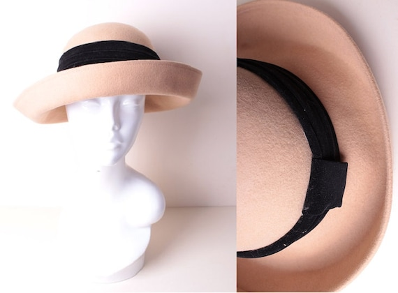 Vintage Beige Buff Wool Felt Black Velvet Trim Bumper Hat by  c464bf5cbc57
