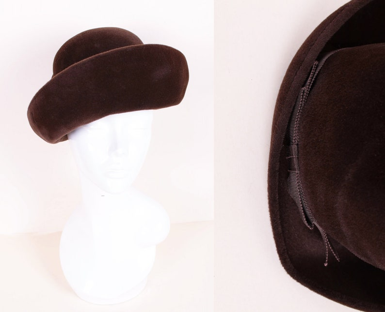 bd18ca48 Vintage 60's Chocolate Brown Wool Felt Cloche Hat with | Etsy