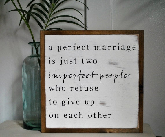 PERFECT MARRIAGE 1'X1' sign | distressed wooden sign | painted art | elegant farmhouse decor | wedding anniversary