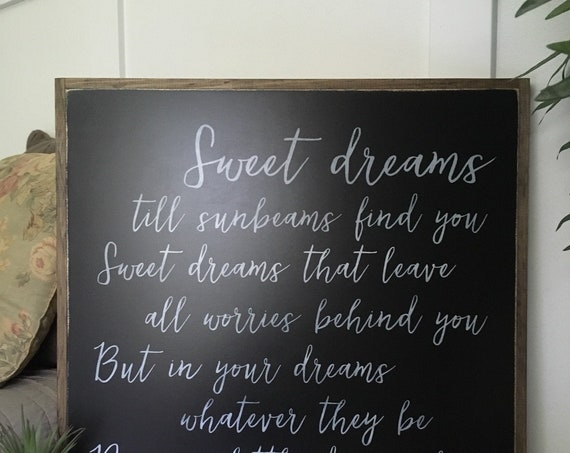 DREAM A LITTLE DREAM Of Me 2'x2' sign | distressed shabby chic painted wooden sign | song quote plaque | farmhouse decor wall art