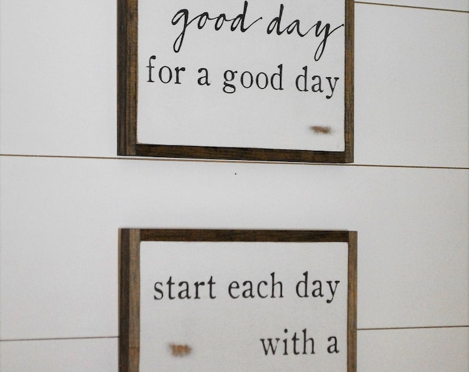 ONLINE SPECIAL! Good Day & Grateful Heart bundle || set of 2 signs || farmhouse decor || distressed rustic wall art