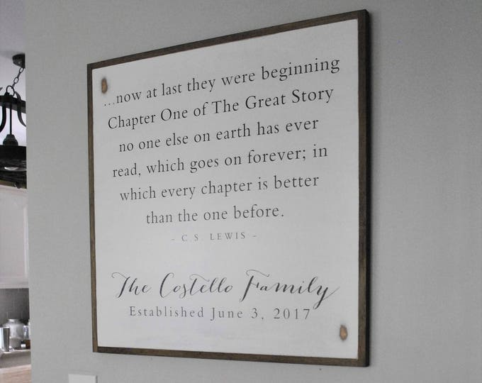 A NEW CHAPTER personalized family sign 2'X2' | C.S. Lewis quote | distressed painted wall decor | shabby chic farmhouse | framed wall art