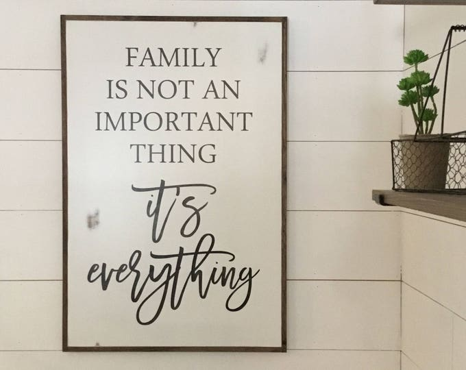 FAMILY IS EVERYTHING 2'X3' | distressed shabby chic painted wooden sign | wall decor | painted farmhouse playroom wall art | farmhouse decor