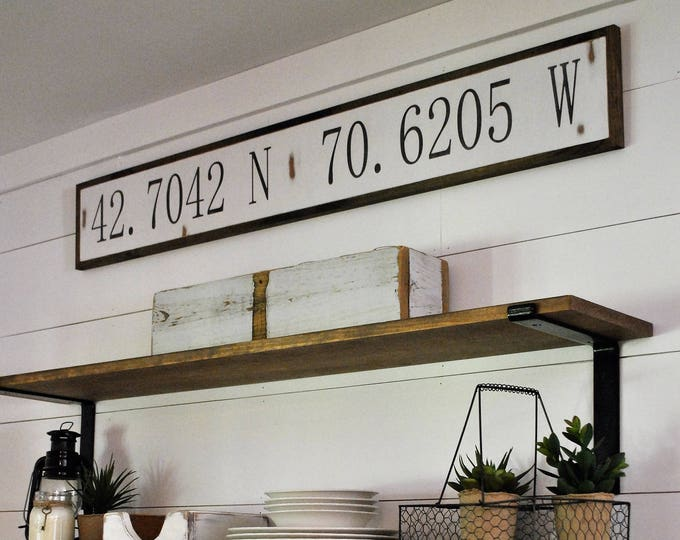 "LATITUDE LONGITUDE coordinates 7""X48"" sign | distressed shabby chic wooden sign | painted wall art | elegant farmhouse decor"
