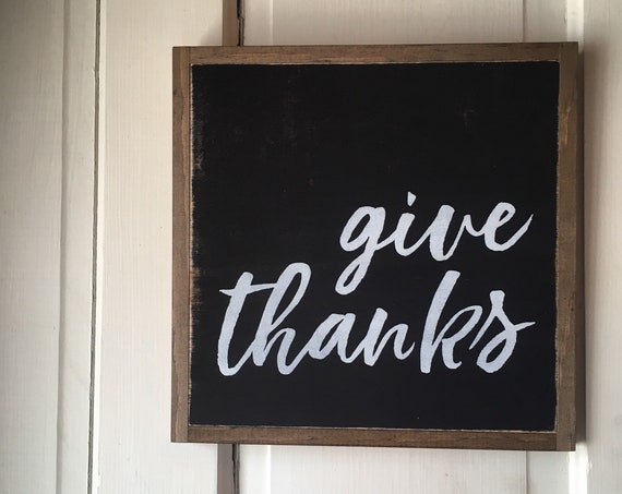Ready To Ship! GIVE THANKS 1'X1' sign | wooden sign | painted wall art | modern farmhouse decor | autumn fall decor | Thanksgiving