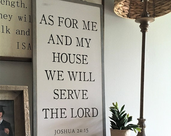 AS FOR ME and my house 1'X2' sign | Joshua 24:15 | distressed rustic wall decor | painted shabby chic wall plaque | inspirational sign