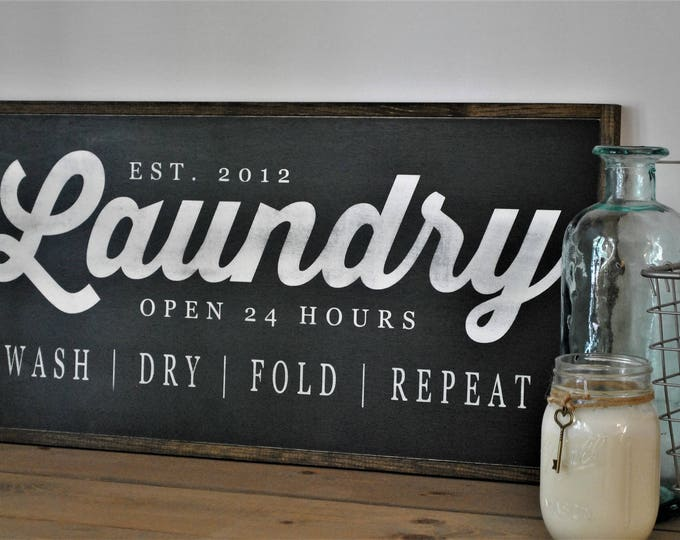 LAUNDRY sign 1'X2' | washroom wall decor | distressed painted framed wooden sign | farmhouse inspired shabby chic | established