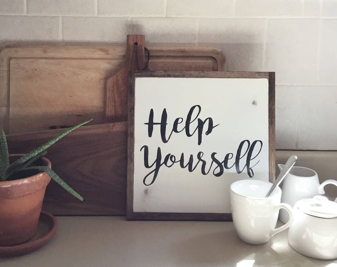 HELP YOURSELF 1'X1' sign | distressed wooden sign | painted art | elegant farmhouse decor | coffee bar | coffee station