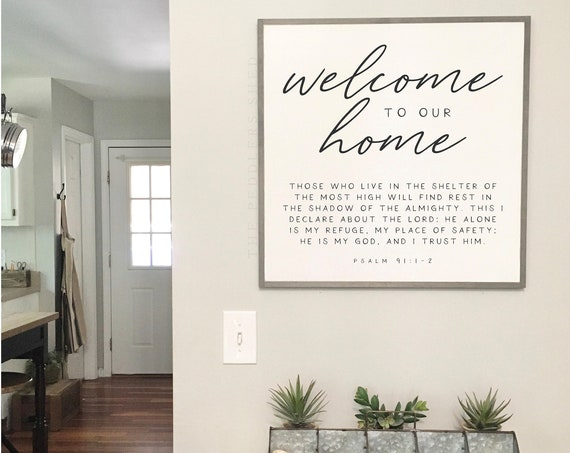 WELCOME to our HOME sign 2'X2' | distressed wooden wall plaque | shabby chic farmhouse décor | framed wall art | scripture entry sign