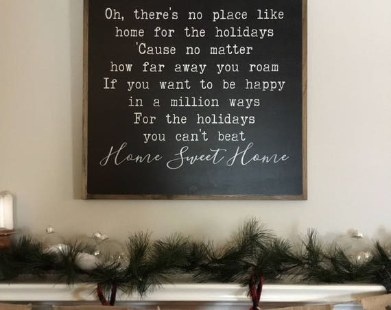 HOME For The HOLIDAYS 2'X2' | Christmas song lyrics | distressed painted wall plaque | shabby chic farmhouse decor | framed holiday wall art