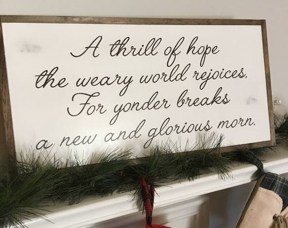 WEARY WORLD REJOICES 1'X2' sign | rustic wall decor | painted shabby chic wall plaque | framed farmhouse sign | Holiday decoration