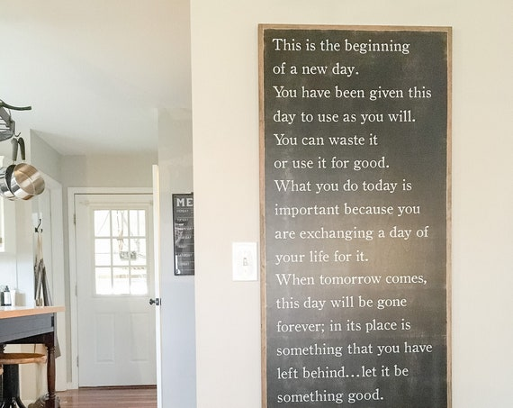 A NEW DAY 2X4 sign | Heartsill Wilson |  inspirational word art | farmhouse inspired rustic home decor | shabby chic painted plaque