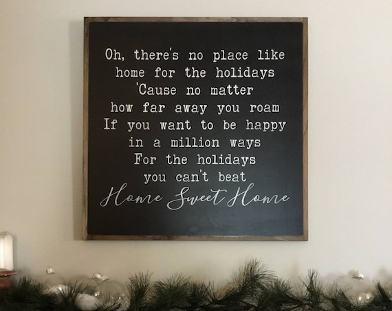 HOME For The HOLIDAYS 2'X2' sign | Christmas song lyrics | distressed painted wall plaque | farmhouse decor | framed holiday wall art