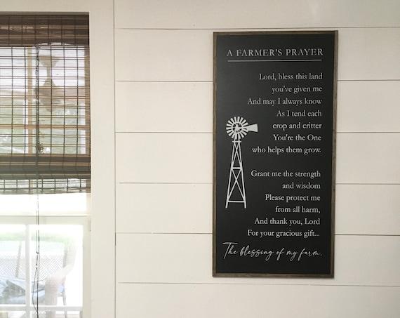 "A FARMERS PRAYER 18""X36"" sign | distressed shabby chic wooden sign | elegant farmhouse decor | farmer's prayer"