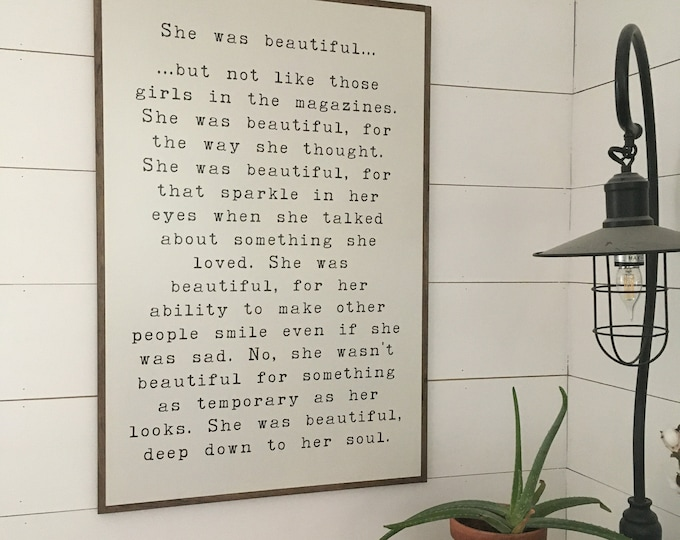 Ready To Ship! One Available! SHE WAS BEAUTIFUL 2X3 | girls sign | modern farmhouse bedroom | distressed shabby chic plaque | wall decor