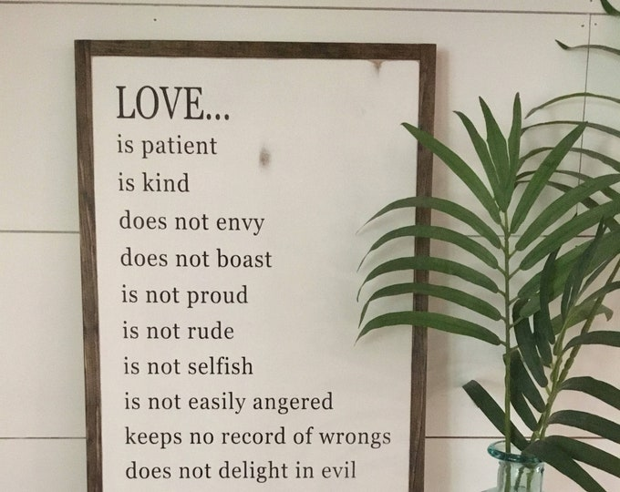 LOVE IS ... 1'X2' sign | distressed wall decor | painted shabby chic wall plaque | farmhouse sign | scripture wall art |