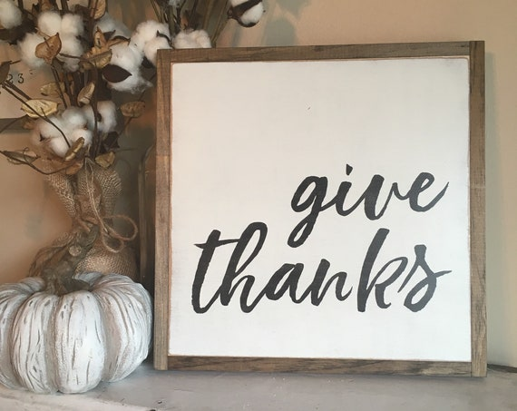 GIVE THANKS 1'X1' | distressed wooden sign | painted wall art | modern farmhouse decor | autumn fall decor | Thanksgiving | shabby chic