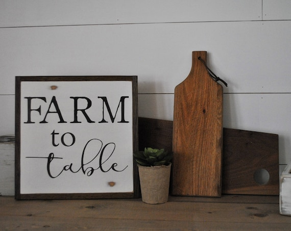 FARM TO TABLE 1'X1' sign | distressed shabby chic painted wooden sign | painted wall art | elegant farmhouse decor | framed wood sign
