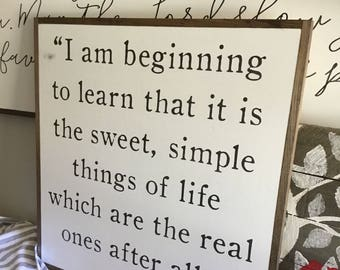 SWEET SIMPLE THINGS 2'x2'   distressed shabby chic painted wooden sign   Laura Ingalls Wilder quote plaque   farmhouse