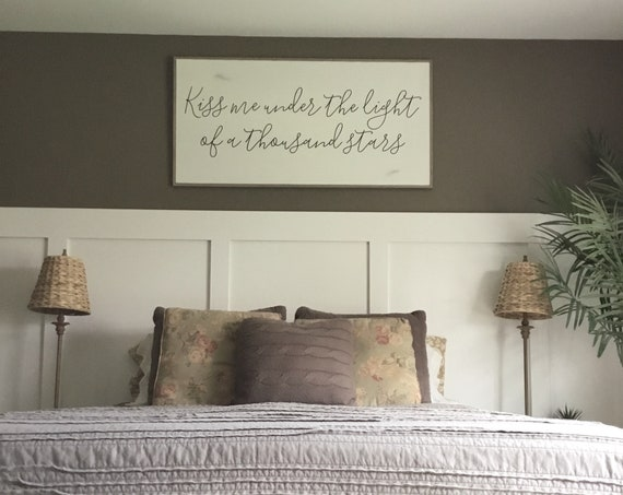KISS ME under the light of a thousand stars 2X4 sign | master bedroom wall art | farmhouse inspired home decor | shabby chic painted framed