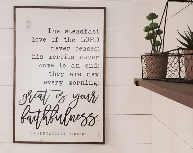 GREAT FAITHFULNESS 2'X3' sign | distressed shabby chic painted wooden sign | rustic wall decor | painted farmhouse wall art