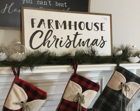 FARMHOUSE CHRISTMAS 1'X2' sign | distressed rustic wall decor | painted shabby chic wall plaque | framed farmhouse sign | Holiday decoration