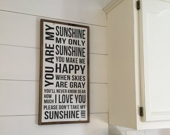 MY SUNSHINE sign 1'x2' | distressed wall decor | painted shabby chic wall plaque | urban industrial farmhouse sign | song art |
