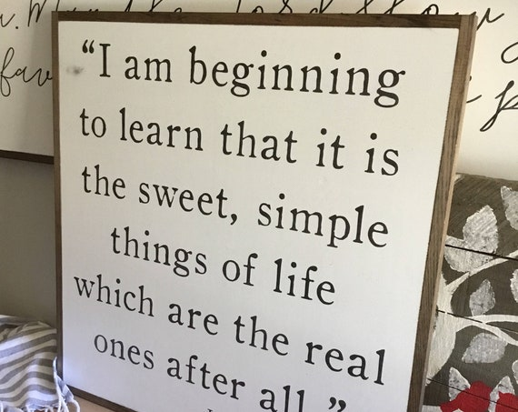 SWEET SIMPLE THINGS 2'x2' sign | distressed shabby chic painted wooden sign | Laura Ingalls Wilder quote plaque | farmhouse