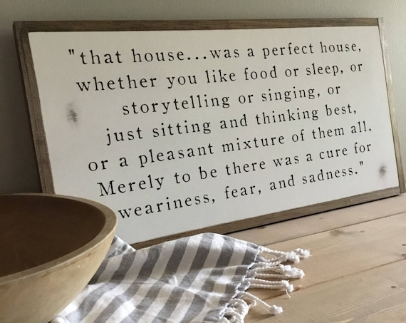 PERFECT HOUSE 1'X2' J.R.R. Tolkien quote sign | distressed rustic wall decor | painted shabby chic wall plaque