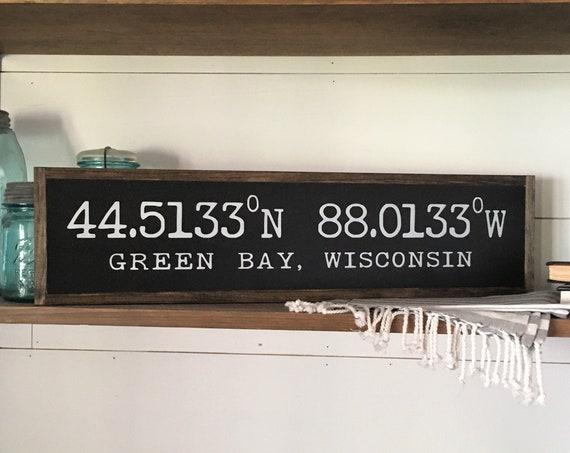 "LATITUDE LONGITUDE coordinates 6""x24"" sign | distressed shabby chic wooden sign | painted wall art | farmhouse decor | graduation gift"