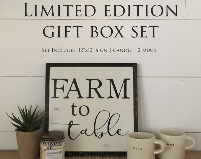 FARM TO TABLE gift box set - Ready To Ship! | Christmas gift | wooden sign | rae dunn mugs | soy candle | farmhouse decor