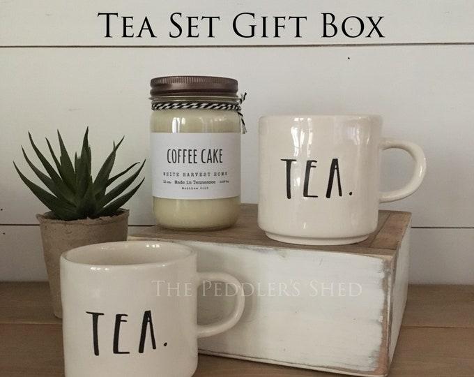 TEA SET gift box - Ready To Ship!   Christmas gift   rae dunn mugs   soy candle   tea lover gift