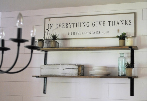 IN EVERYTHING give thanks 1'X4' sign | distressed shabby chic wooden sign | painted farmhouse inspired wall art | I Thessalonians 5:18