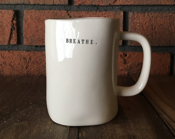 RAE DUNN mug | breathe bike large mug | dual-sided | typewriter lettering | cycling cup | cyclist gift | biking pottery