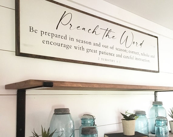 PREACH THE WORD 1'X4' sign | shabby chic painted wooden sign | painted wall art | Bible sign | farmhouse style scripture art | 2 Timothy 4:2