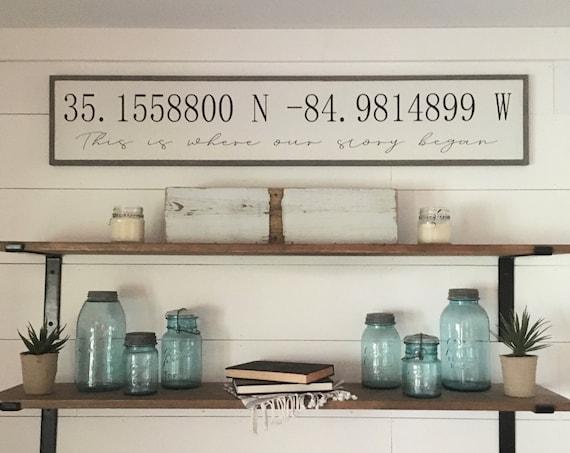 "LATITUDE LONGITUDE coordinates with personalization 9""X48"" sign | distressed shabby chic wooden sign | elegant farmhouse decor | beach house"