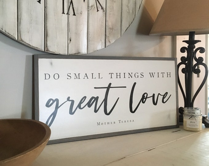 SMALL THINGS 1'X2' wood sign | distressed rustic wall decor | painted shabby chic wall plaque | farmhouse inspired framed wooden art