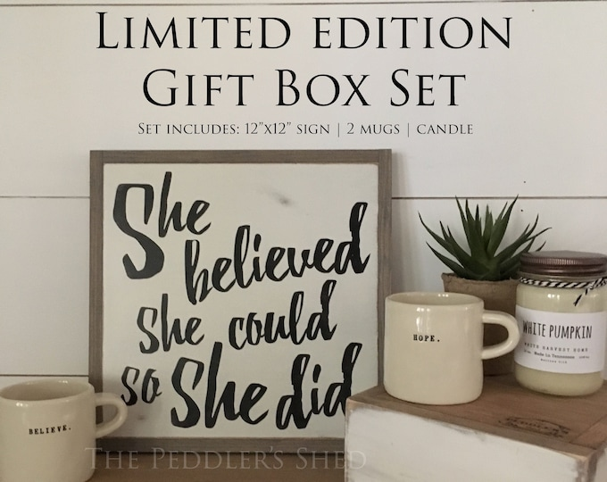 SHE BELIEVED gift box set for her - Ready To Ship! | Christmas gift | wooden sign | rae dunn mugs | soy candle | farmhouse decor