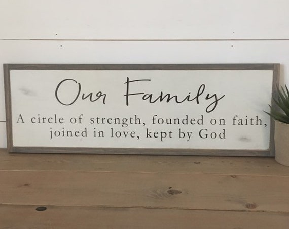 "OUR FAMILY sign 8""x24"" 