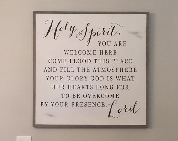 HOLY SPIRIT 2'X2'  sign || Inspirational wall art || distressed shabby chic decor || farmhouse style design || framed wooden plaque