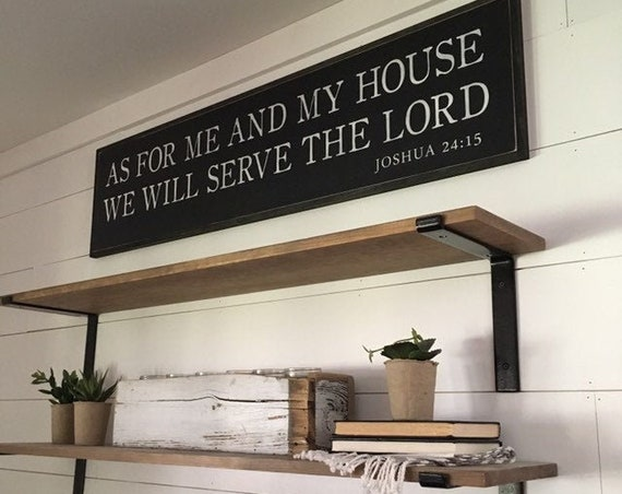AS FOR Me And My House We Will Serve The Lord 1'X4' sign | distressed shabby chic wooden sign | painted wall art | Joshua 24:15