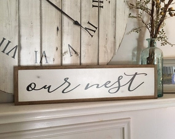 "Our Nest 6""x24"" sign | framed wood painted wall art | farmhouse inspired wall decor | rustic coastal beach decor"